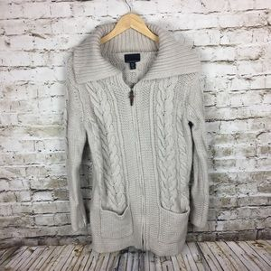 Cynthia Rowley ecru long cardigan sweater